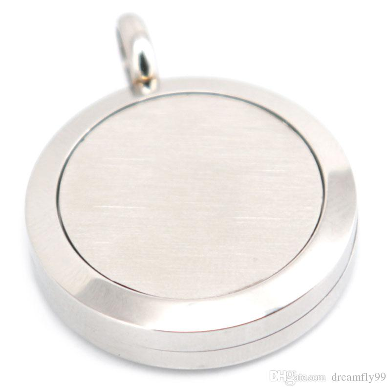 Silberschmuck 25mm Aromatherapie ätherisches Öl chirurgisches Edelstahl Parfüm Diffusor Medaillon Halskette mit Kette und Pads