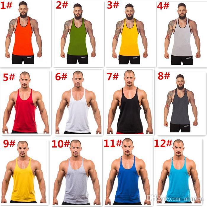 9dca84011 12 Cores Algodão Stringer Bodybuilding Equipamento Fitness Gym Tank Top  Camisa Solid Singlet Y Voltar Roupa Desportiva Veste De Airmen
