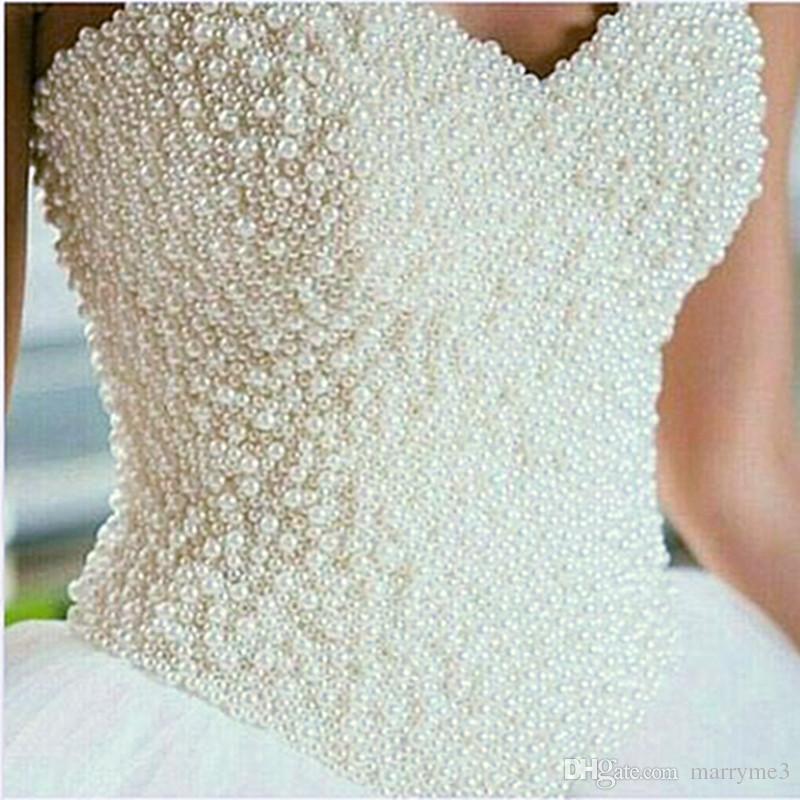 Best Seller List 2017 Luxury Sweetheart Ball Gown Wedding Dresses Pearls Lace Up Bridal Dresses Vestido De Noiva