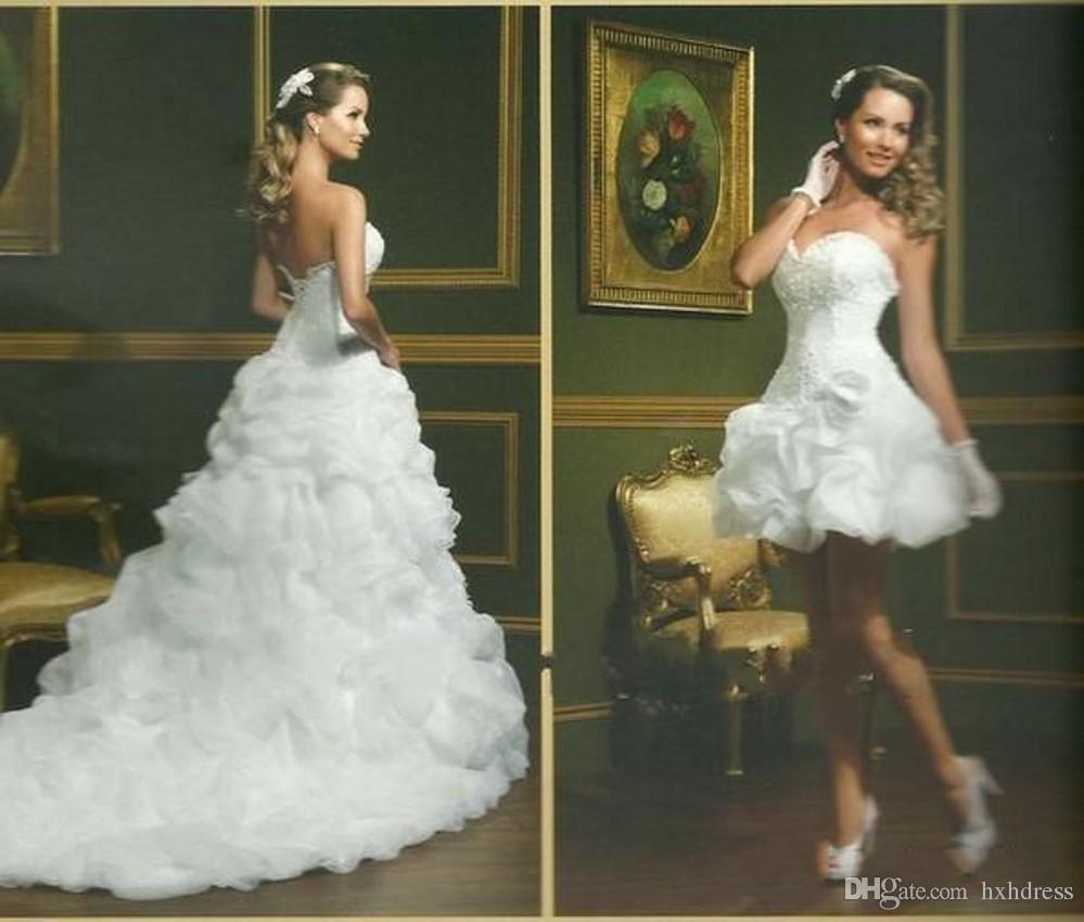 2020 Seksi vestido de Noiva Beyaz Balo Gelinlik Straplez Sevgiliye Pick-up Çıkarılabilir Etek Arapça Mini Kısa Gelinlik 357