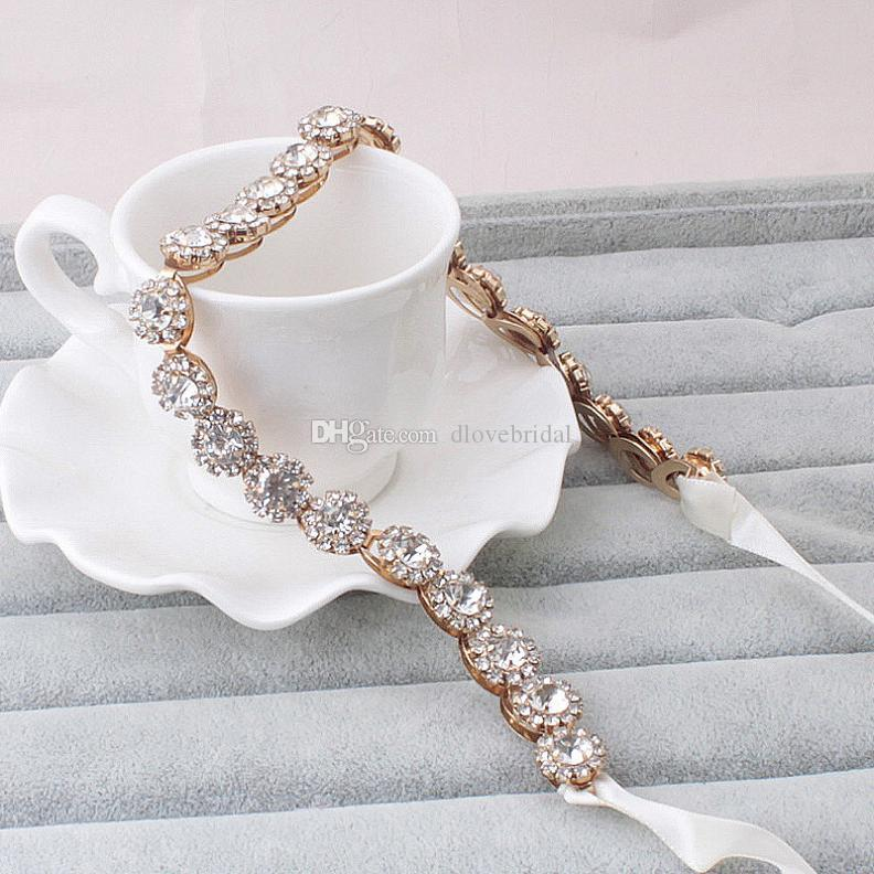 New Style Crystal Bridal Headband with A Glass Crystals with Elegant Ribbon Tie Back Wedding Bridal Hair Accessory