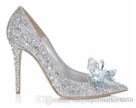 Con Caja Mujeres tacones altos boda Cinderella blanco sexy lady plataformas de plata brillo Glitter zapatos de novia talón fiesta bomba