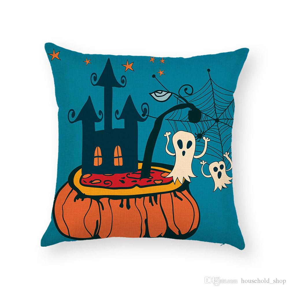 Halloween Pillow Case Digital printing car Cushion Carton Support OEM Witch Graveyard Pumpkin Pillow case cover