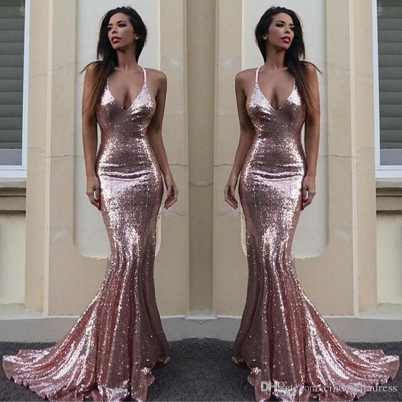 1f8989ea536 Vestidos Baile De Finalistas Sexy New Rose Pink Mermaid Prom Dresses  Spaghetti Straps Deep V Neck Backless Sequins Full Evening Gowns BA6496  Vestidos De ...