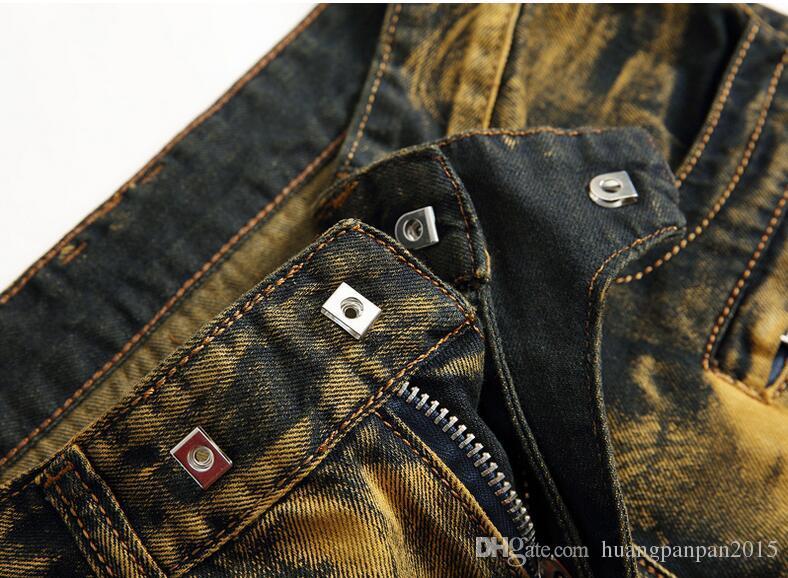 2017 New Fashion Men Denim Pants Slim Punk Distressed Straight Pleated Biker Jeans Male Cowboy Trousers Plus Size