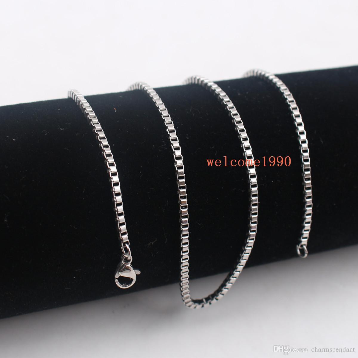 vente chaude bijoux en gros en vrac argent en acier inoxydable mode boîte collier chaîne 2mm / 2.4mm de large