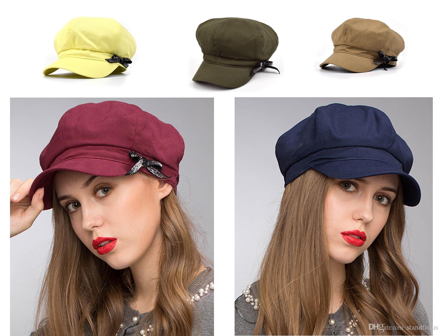 353f9f0c 2019 Stand Focus Baker Boy Cabby Newsboy Gatsby Hat Cap Women Ladies Fashion  Cotton Twill Spring Summer Khaki Navy Olive Burgundy Yellow Causal From ...