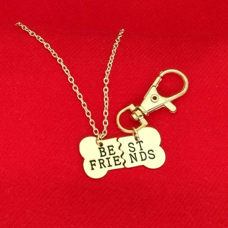 Ouro prata MELHORES AMIGOS Colar de pingente de designer de ossos de cão de estimação BFF Colar 2 partes de ossos de cão colar e chaveiro mens jóias