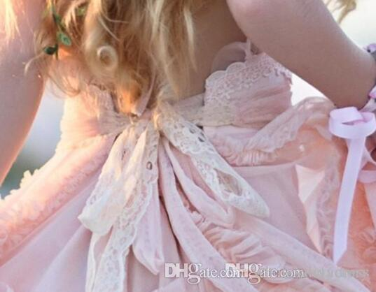 Roze een lijn bloem meisjes jurken kant applique ruches kinderen formele slijtage mouwloze lange strand meisjes pageant jurken