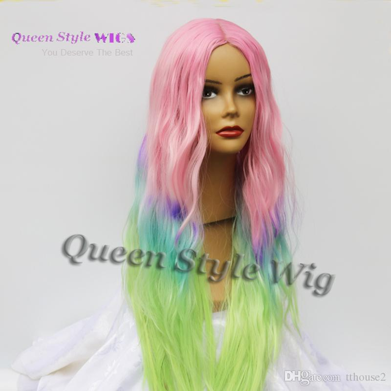 Synthetic Colorful Candy Hair Wig Muti Tone Pastel Ombre Color Hair Wig Double Dutch Braids or Loose Curly African American Wig