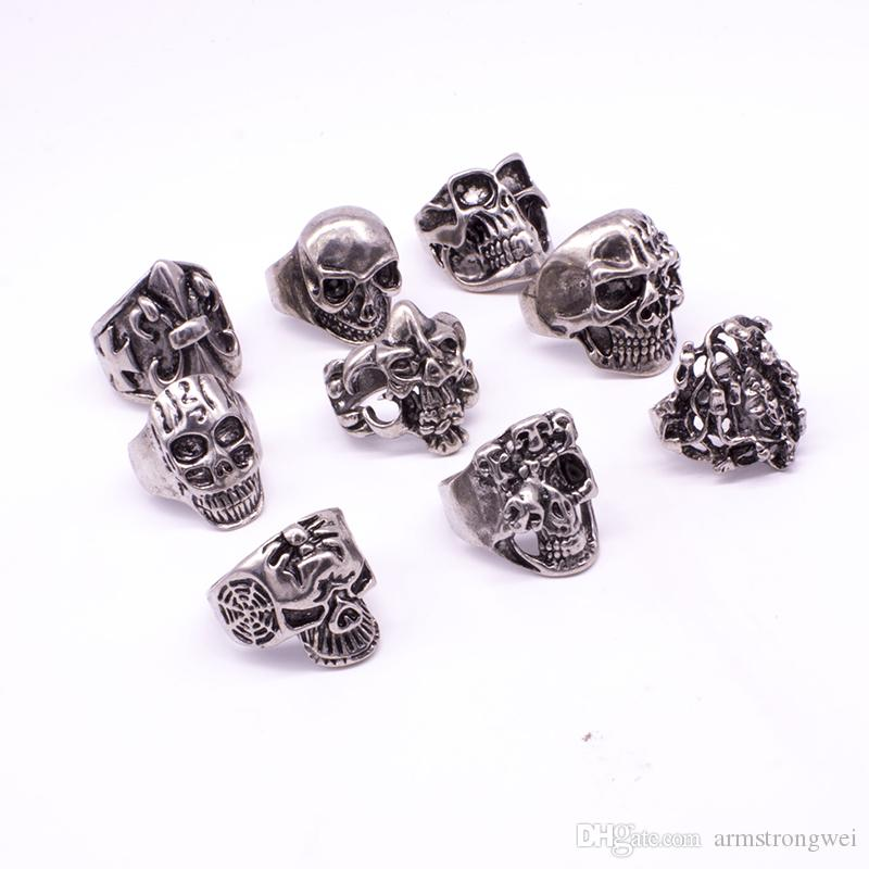 Skull Skeleton Gothic Alloy Rings Wholesale Punk style rings for mens