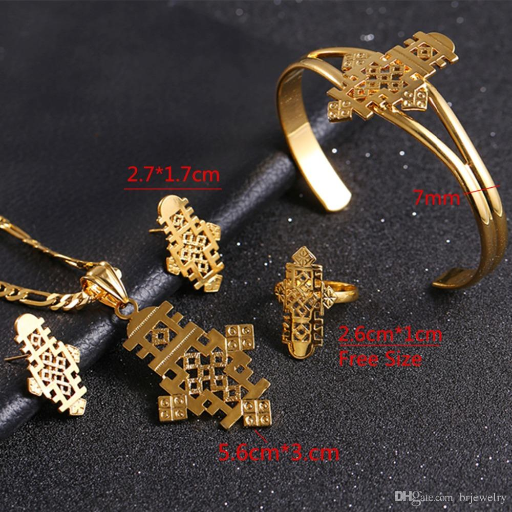 Ethiopian Cross Necklace Pendant Earring Ring Bangle Set Gold color Eretrian Jewelry African Item Coptic Cross Abyssini