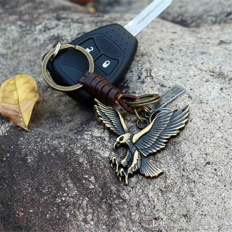 Alloy eagle retro woven leather key chain Creative bronze color key ring New personality auto and bag pendant
