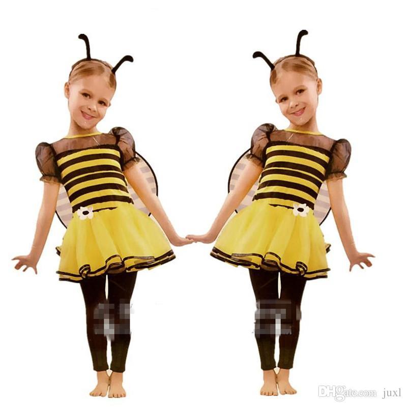2017 new yellow bee headband wings skirt dress set children girls cosplay bee costume halloween party supplies halloween costumes 1980s theme adult costume - Bee Halloween