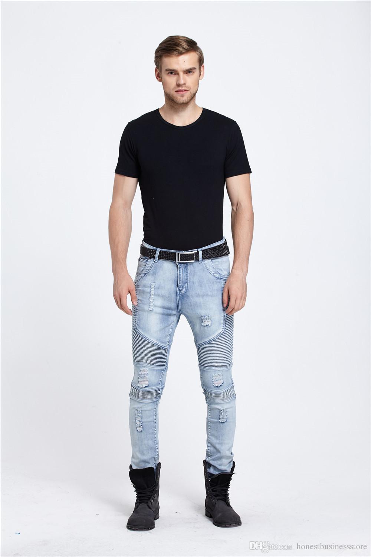 gro handel mens skinny jeans m nner slim fit plissee punk. Black Bedroom Furniture Sets. Home Design Ideas