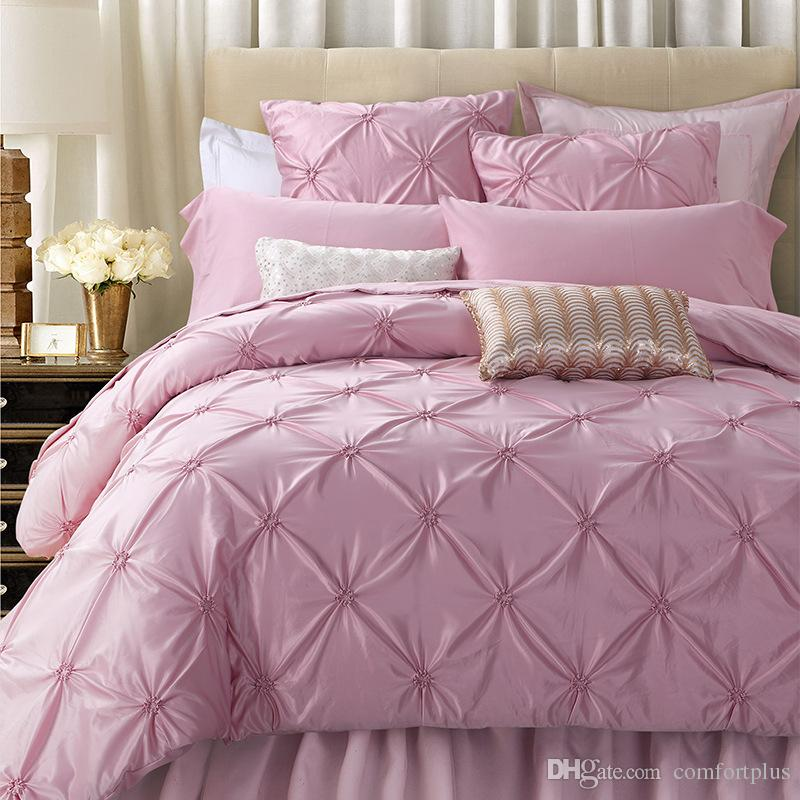 Luxury Pink Silk Amp Cotton Bedding Set Handmade Ruffle