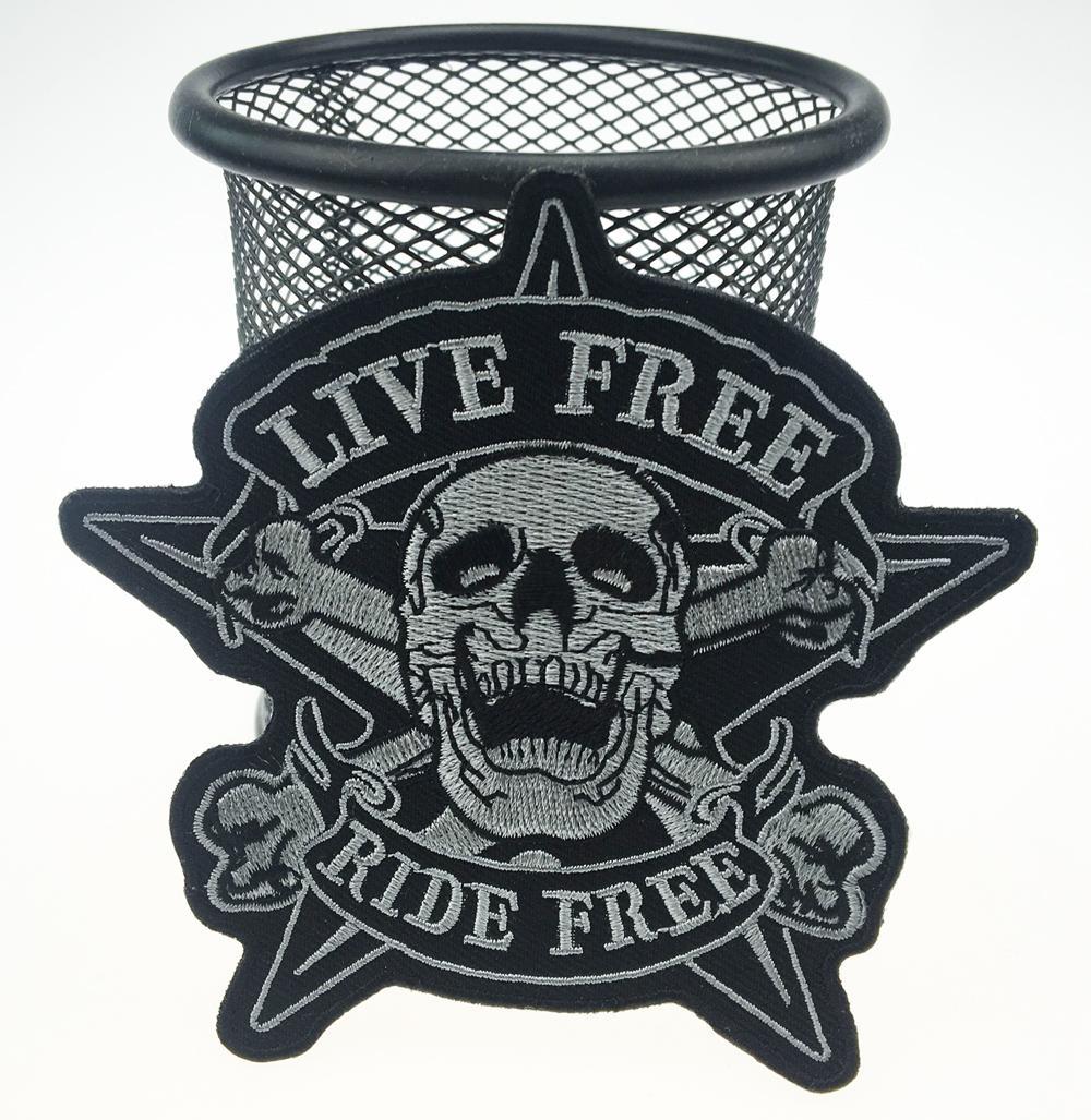 2017 Original Skull LIVE FREE RIDE FREE Star Motorcycle Biker Chaleco Bordado Parche Jinete Punk Badge G0378 Envío Gratis