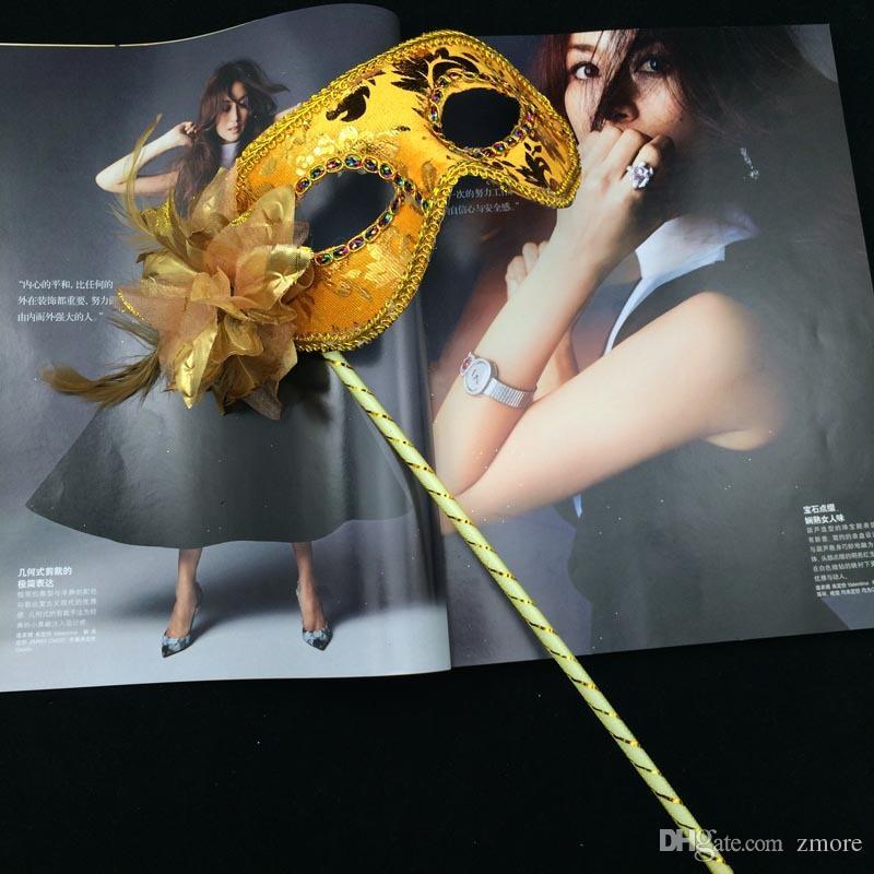 HandMade Partido Máscara com vara de Casamento Venetian Metade rosto flor máscara Halloween Masquerade princesa Dança partido Máscara 6 cor
