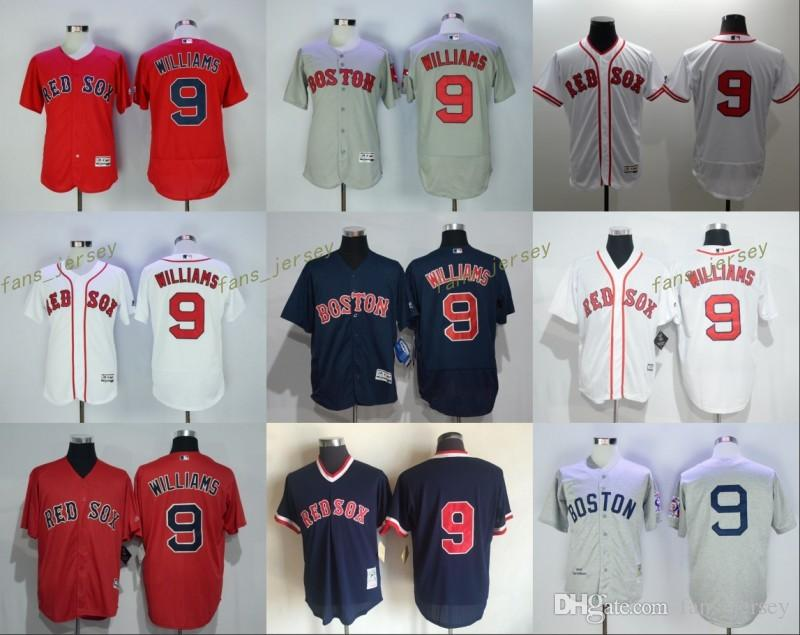 bc71fc2df 2017 2017 Mlb Flexbase Boston Red Sox 9 Ted Williams Baseball Jersey White  Red Blue Grey ...