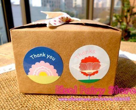 Glossy Laminated Flower Round Thank You Seal Sticker Gift Point ... f6dc18a83726b