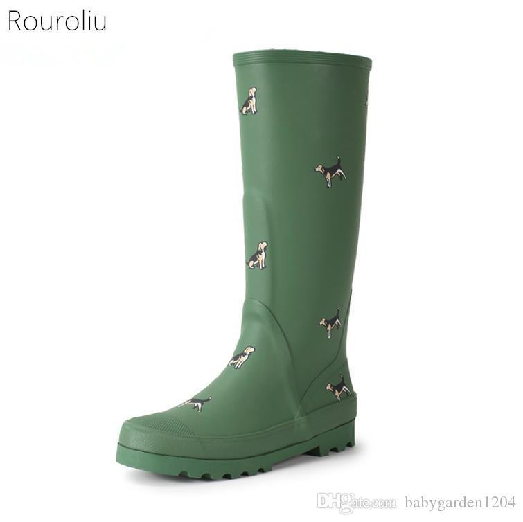 0fa5b90c933 Brand New Women Fashion Rubber Rain Boots Anti Slip Animals Print Rainboots  Knee High Woman Water Shoes Wellies Boots TS176 Army Boots Peep Toe Booties  From ...