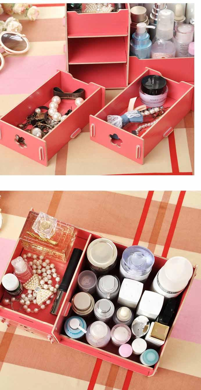 Wooden Storage Box Jewelry Container Makeup Organizer Case Handmade DIY Assembly Cosmetic Organizer Wood Box For Home Office Storage