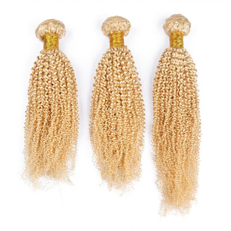 Pure #613 Brazilian Kinky Curly Virgin Human Hair Bundles Golden Blonde Virgin Human Hair Weaves Extensions Afro Curly Double Wefts