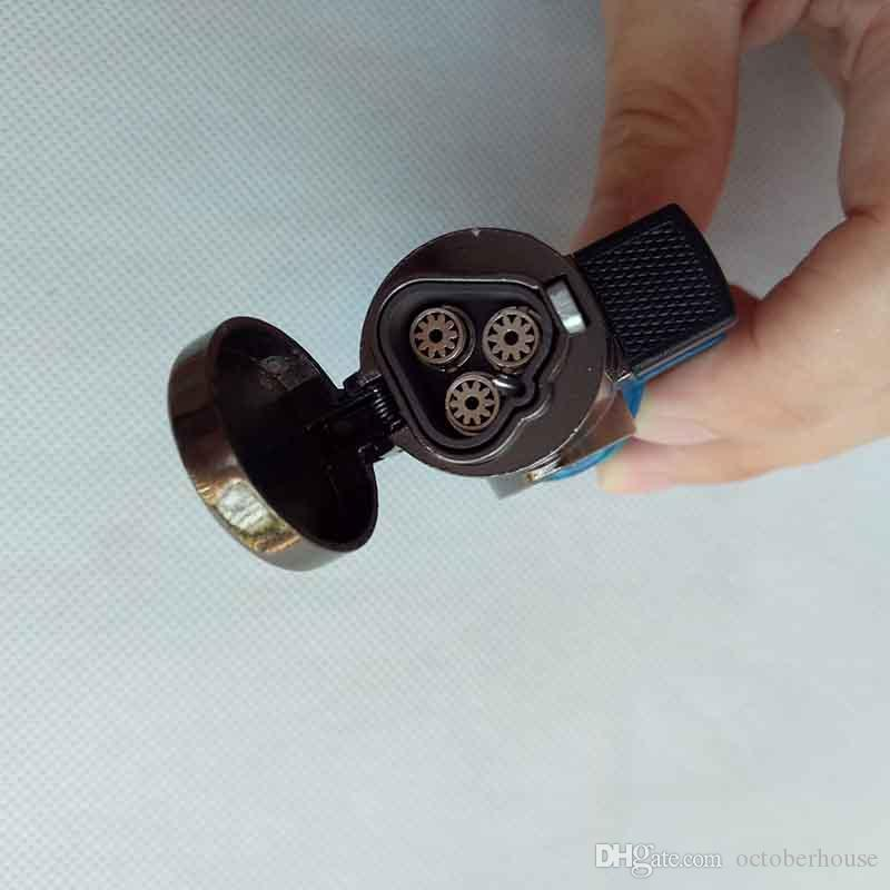 3 antorchas a prueba de viento Triple Jet antorcha de llama encendedor de cigarros recargables encendedor de cigarrillos de butano sin gas para fumar pipa herramientas