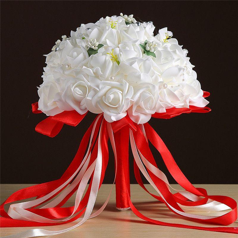 Wholesale Cream White Bouquets Handmade Flowers Rhinestones Rose Bridesmaid Bridal Artificial Holding Brooch Bouquet Silk RibbonWholesale We