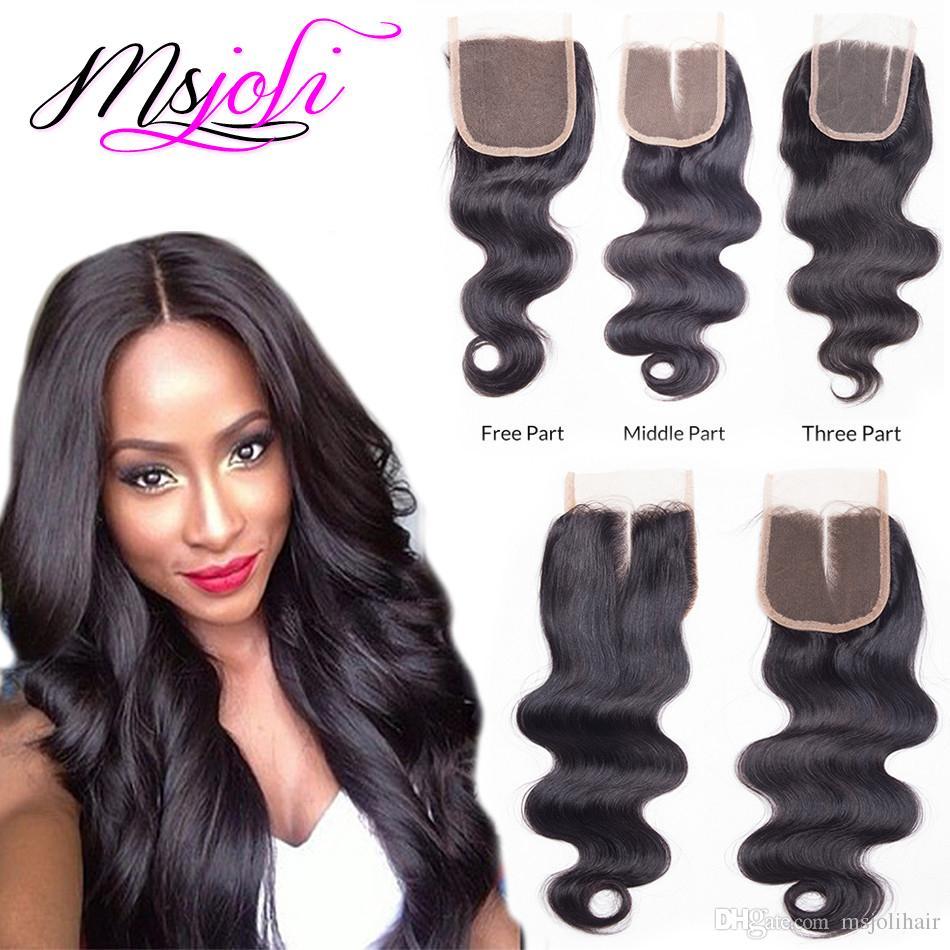 Malaysian Virgin Hair Human Weave Closures Body Wave Natural Black ...