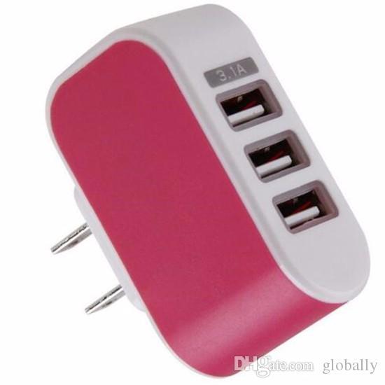 Toptan 3 usb portları 3A ABD ABD AC ev duvar şarj adaptörü güç fiş iphone 4 5 6 7 için samsung s7 s6 not 2 3