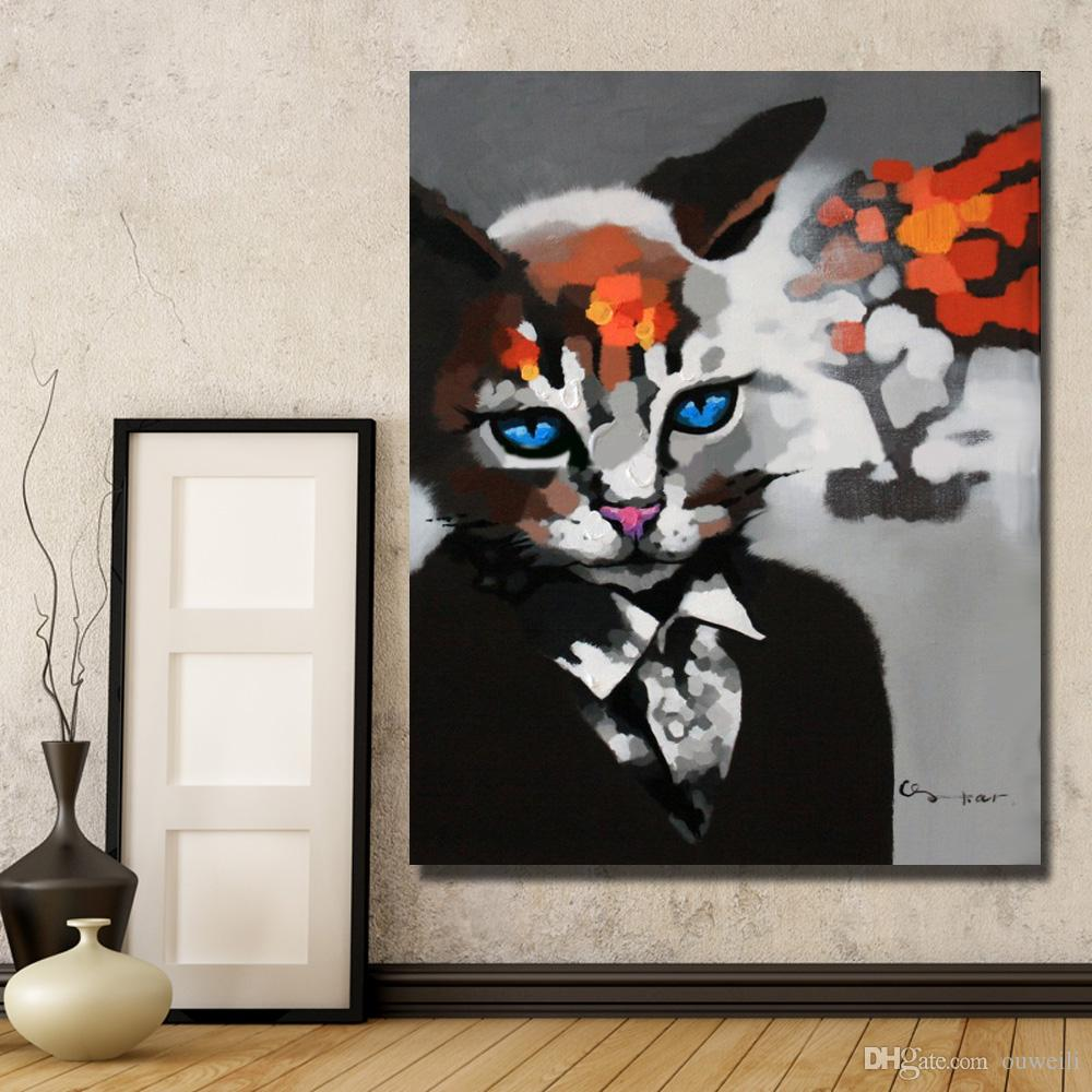 Modern abstract design decorative painting gallery home wall decor animal cat head human body custom oil painting