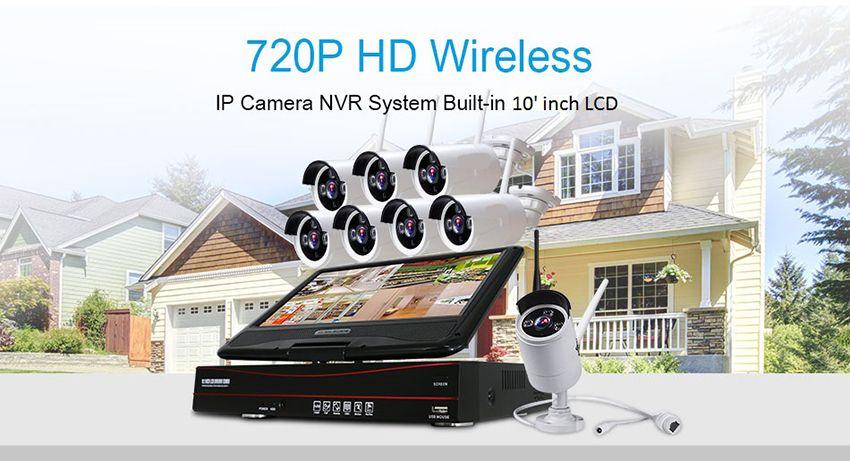 8CH Kablosuz Kamera Kitleri CCTV Sistemi Tel Ev Güvenlik IP Kamera Bullet Video Surveillence paket 10 Inç Displayer