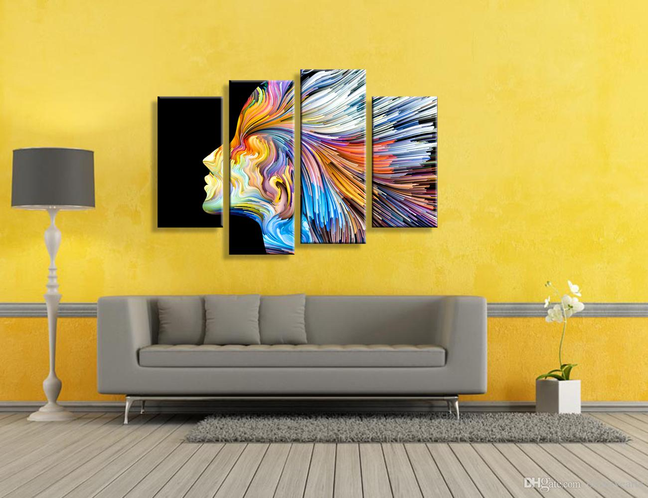 Abstract Painting Girl Photo Prints Giclee Prints for Living Room Office Unframed30cmx60cmx2 30cmx80cmx2