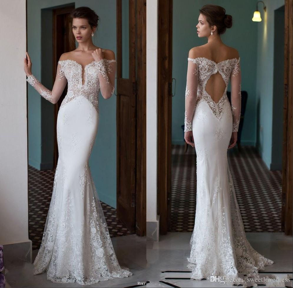 2016 Mermaid Wedding Dresses Off The Shoulder Plunging V Neck ...