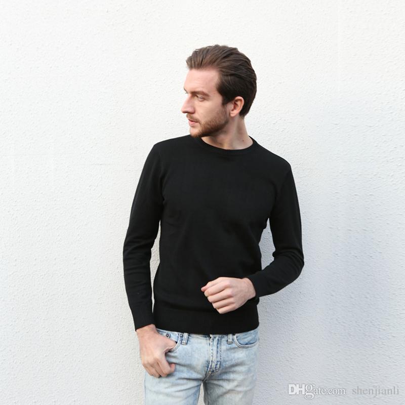 Venta al por mayor 2017 nuevo superventas de gama alta de moda casual cuello redondo de los hombres suéter de polo marca 100% algodón suéter de los hombres suéter envío gratis