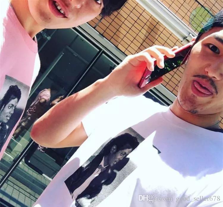 Michael Jackson Photo Tee Box logo Tee Rock N Roll Skateboard T-shirt Men Women Cotton Casual TShirt