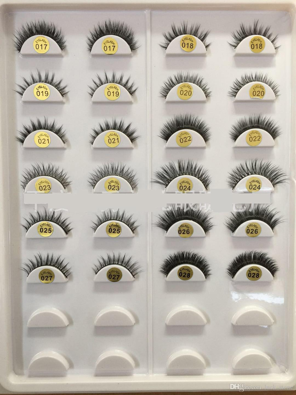 34 design mink 3d hair Hand-made eyelashes pack in plastic case multilayer crisscross thick False eyelashes OEM order
