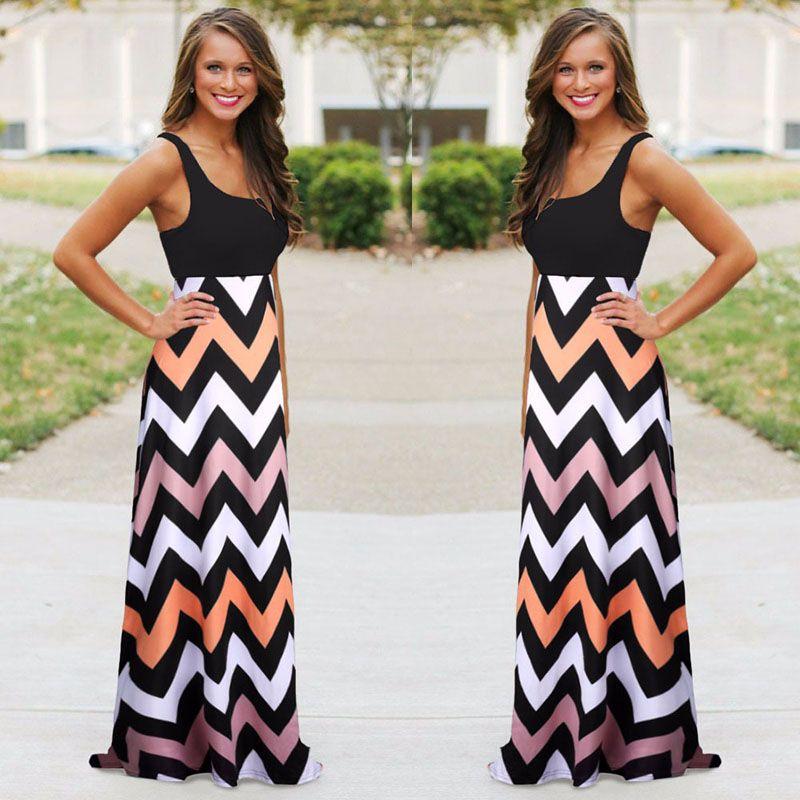 Heißer verkauf sommer mode frauen dress baumwolle boho gestreiften langen maxi dress casual ärmellose oansatz dress plus size beach style