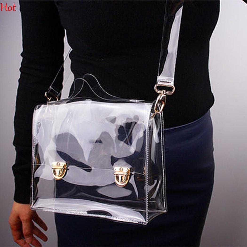 Hot PVC Transparent Bags Women Clear Crossbody Bag Shoulder BoxWaterproof  Lady Tote Messenger Bags Clear Work Office Sling Handbags SV016234 Clutch  Bags ... 13a3d04ea3f13