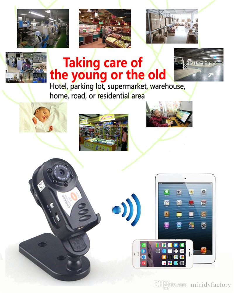 Mini P2P WiFi IP Camera HD DVR Camera Video Recorder Indoor / Outdoor Motion Detection Security Support iPhone/Android Q7