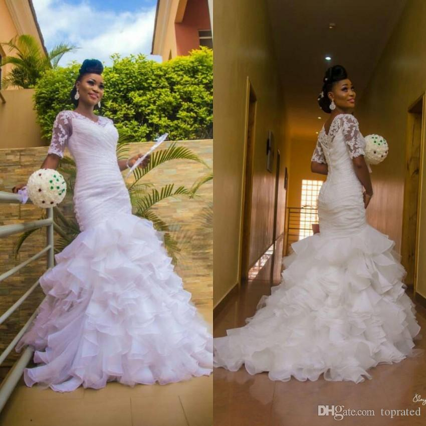 White 2017 Mermaid Wedding Dresses with Short Sleeves Ruffles Organza Train Lace Buttons Back Custom Made Vintage Bridal Gowns Plus Size