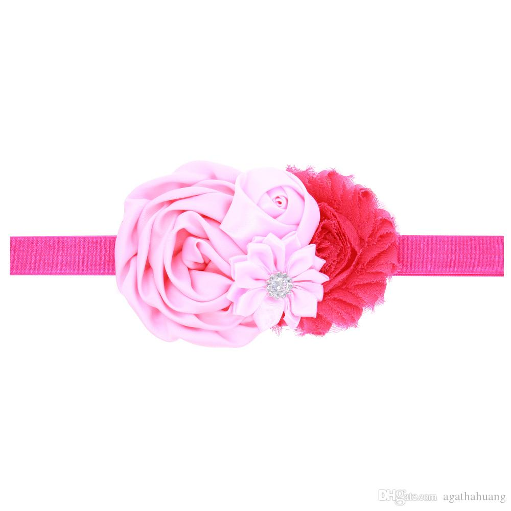 Baby girl rose flower diamond rhinestone headbands children elastic hair band bows party hair jewelry Photography props gifts