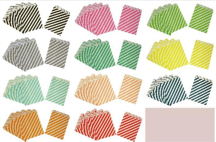Bolsas de papel para regalo Alimentos para fiestas Bolsas de papel Chevron Treat Craft Bolsas de papel para palomitas de maíz Polka Dot Middy Bitty Alimentos seguros Bolsas de papel para manualidades