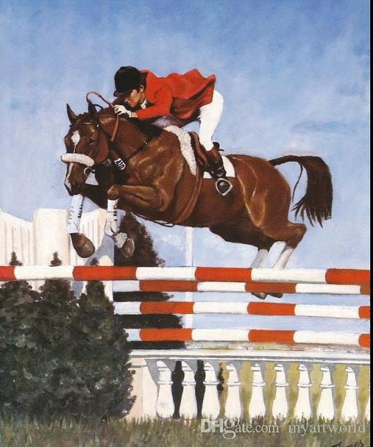 Framed Sports Horse Show Jumping Horseback At Steeplechase,genuine Pure Handpainted Equestrian Art oil Painting Multi sizes Available HS042
