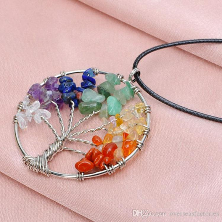 Tree of Life Healing Crystal Wire Wrap Natural Gemstone Pendant Necklace for birthday gift wholsale