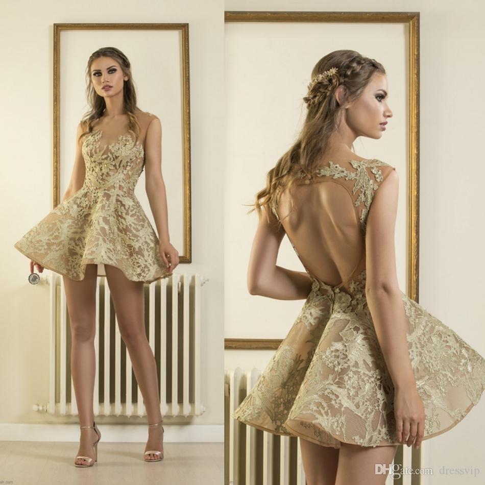 aff6dbf86 Compre Vestidos De Baile Corto De Oro Apliques De Encaje Cuello Joya Espalda  Hueca Vestido De Cóctel Sexy Vestidos De Regreso A Casa Baratos De La Chica  Sin ...