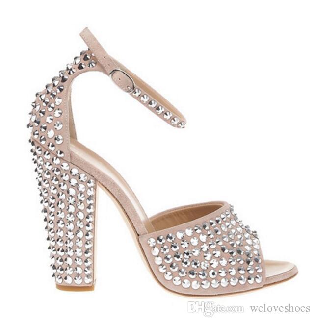 2017 moda peep toe donne tacco grosso spike borchie sandali sexy scarpe da festa rivetti tacchi alti sandali gladiatore