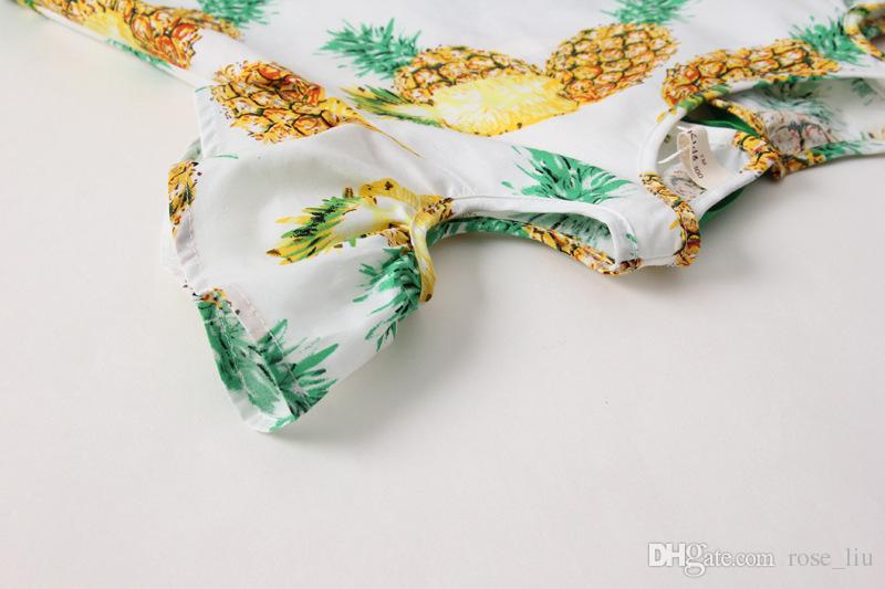abacaxi impresso crianças saia meninas borla colete vestido 2017 nova primavera verão abacaxi impresso nova saia das crianças