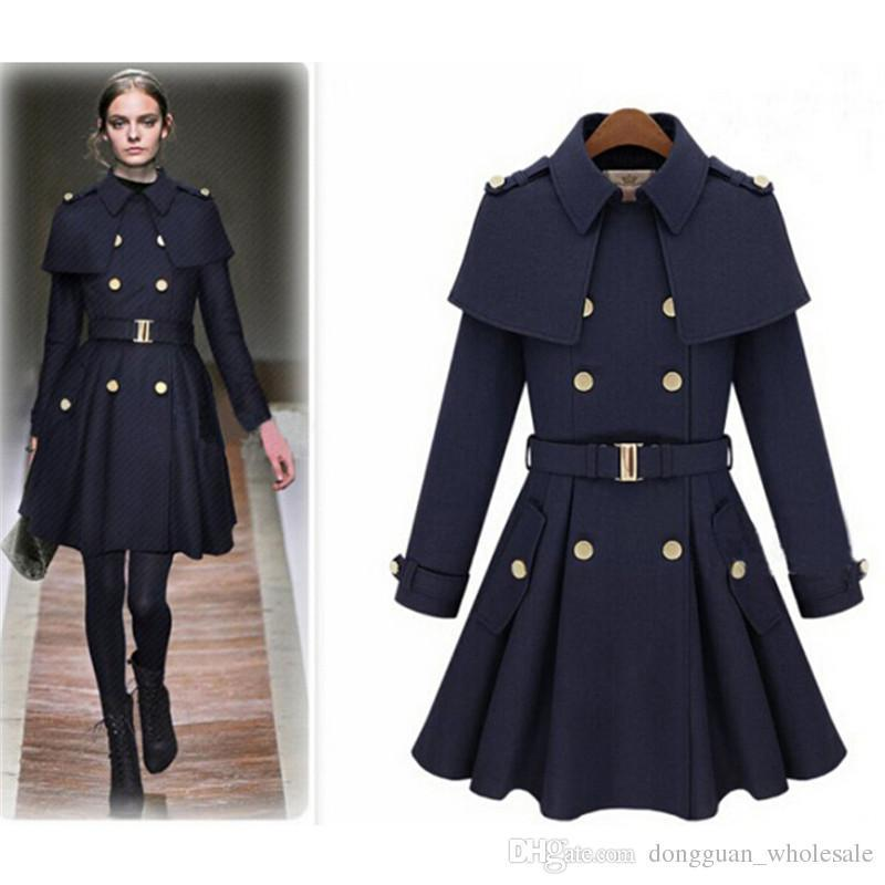2017 Nice New Causl Women Trench Woolen Coat Winter Slim Double ...